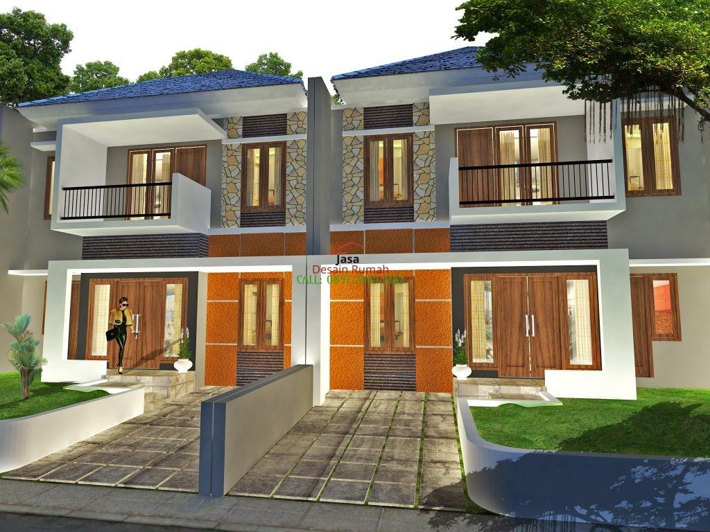 Gambar Rumah Minimalis 2 Lantai Dengan Taman dan Carport di Depan Rumah