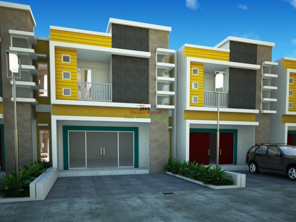 Ruko Minimalis 2 Lantai Dengan Rollingdoor Warna Merah dan Pintu Kaca Tempered