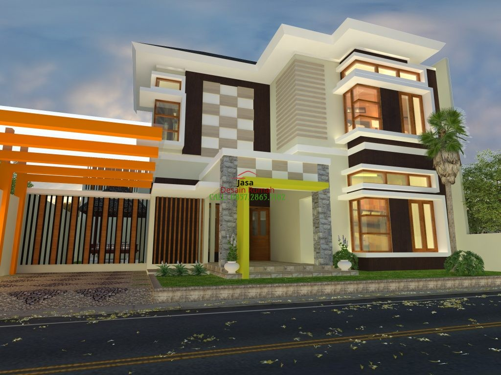 Rumah Mewah 2 Lantai Dengan Gazebo Minimalis di Taman Samping Rumah