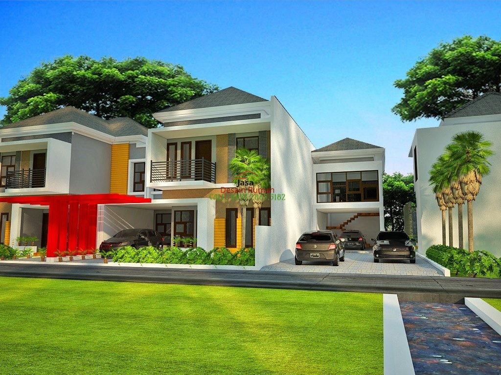 Rumah Mewah 2 Lantai Dengan Taman dan Kolam Ikan di Bagian Depan Rumah