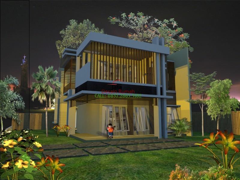 Rumah Mewah 2 Lantai dengan Konsep Tropis dan Taman Minimalis Dibagian Depan