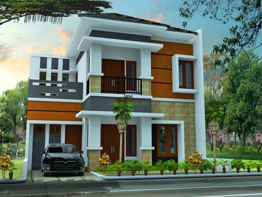 Rumah Mewah Minimalis 2 Lantai Dengan Atap Minimalis dan Carport Garasi Mobil