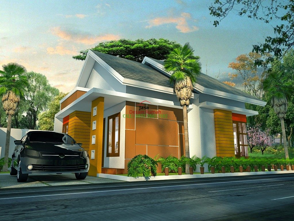 Rumah Minimalis 1 Lantai Dengan Taman Samping Rumah Dan Carport di Bagian Depan Rumah