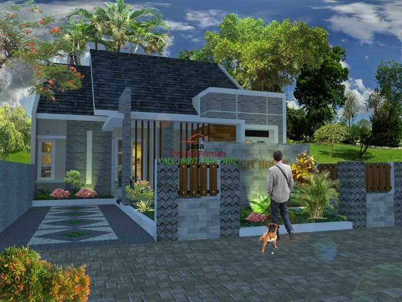 Rumah Minimalis 1 Lantai Type 36 Dengan Taman dan Prasasti di Bagian Depan