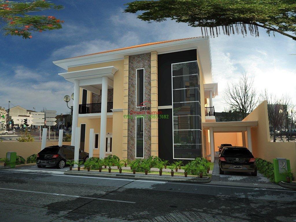 Rumah Minimalis 2 Lantai Dengan Balkon dan Garasi di Bagian Samping