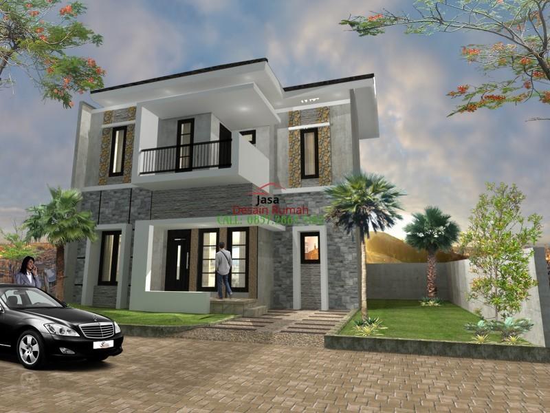 Rumah Minimalis Idaman 2 Lantai Dengan Balkon dan Taman Depan Rumah