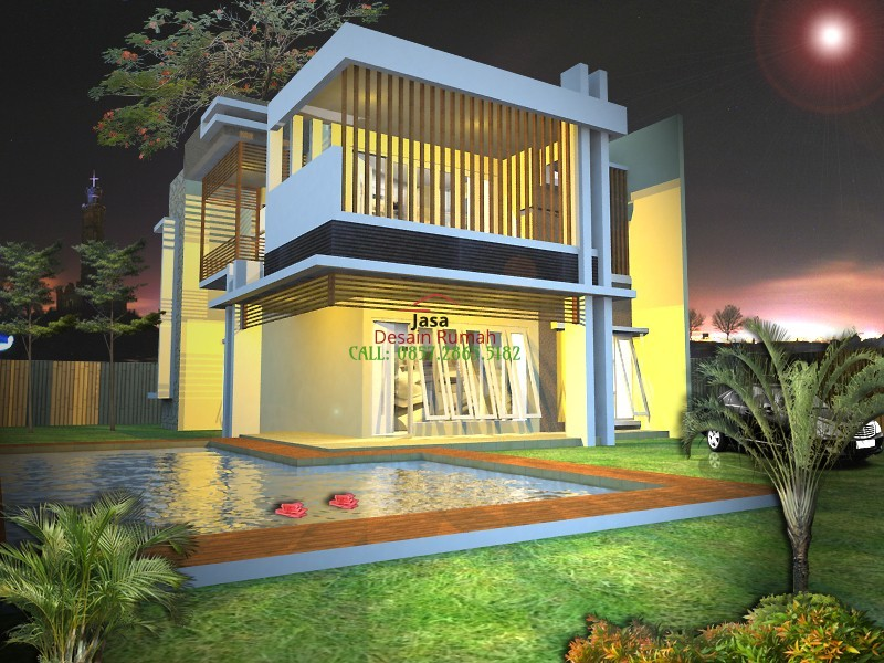 Rumah Minimalis Moder 2 Latai Dengan Kolam Renang dan Lighting dan Taman Minimalis