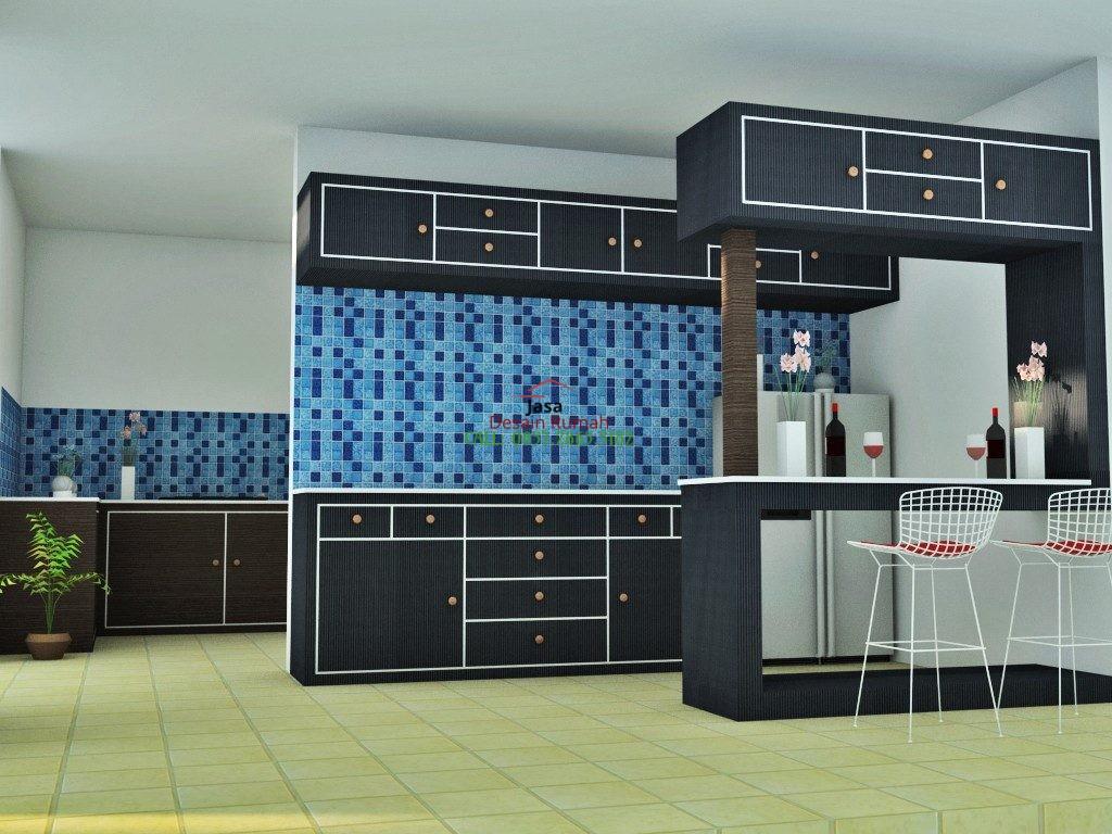 Contoh Desain Interior Dapur Dengan Kitchen Set Warna Hitam Dan Kulkas