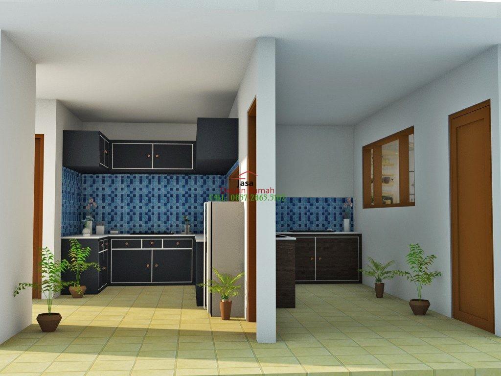 Contoh Desain Interior Dapur Dengan Kitchen Set Warna Hitam Dan Tembok Partisi