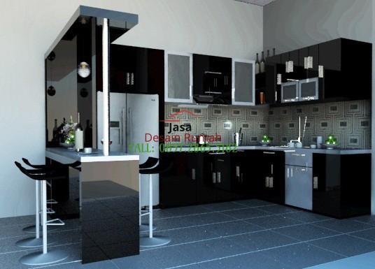 Contoh Desain Interior Kitchen Set Warna Hitam Putih Dengan Minibar