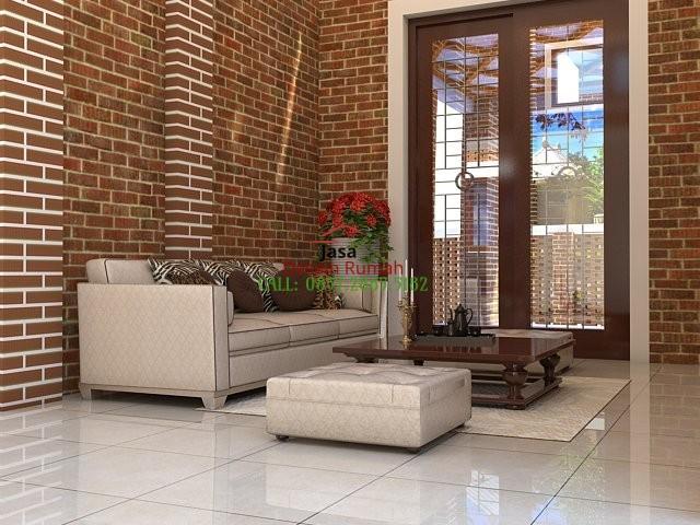 Contoh Desain Interior Ruang Tamu Dengan Bata Dan Sofa Warna Krem